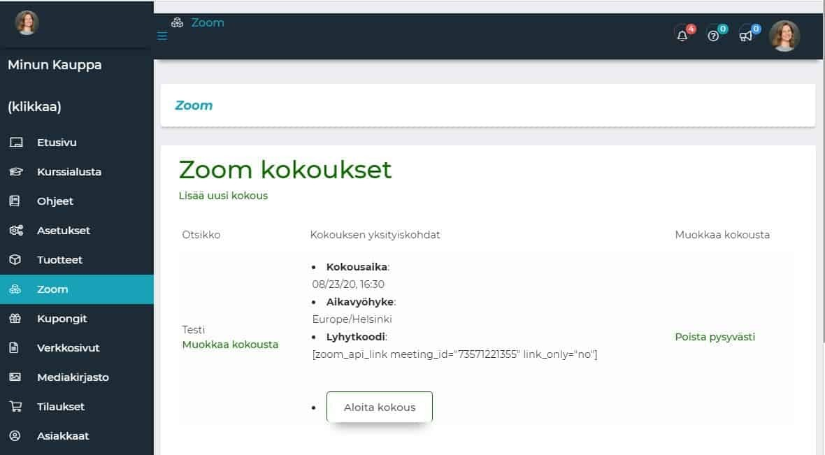 zoom-hallintapaneeli